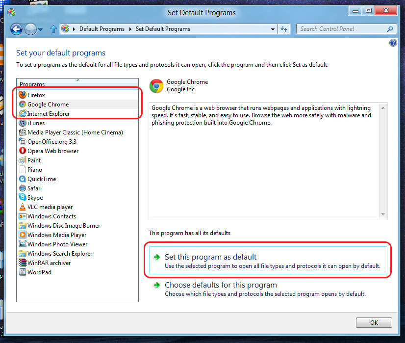 how to change the default selected program